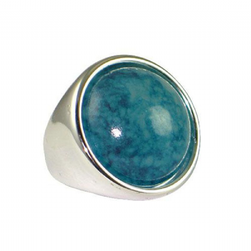Lightweight Silver Effect Ring With Round Plastic Turquoise Feature